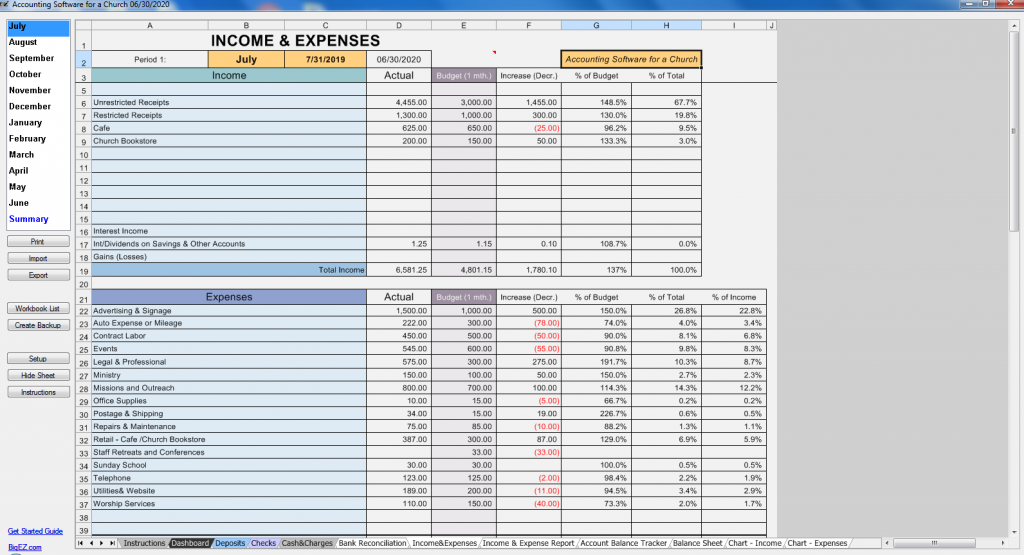 Nonprofit Income Statement